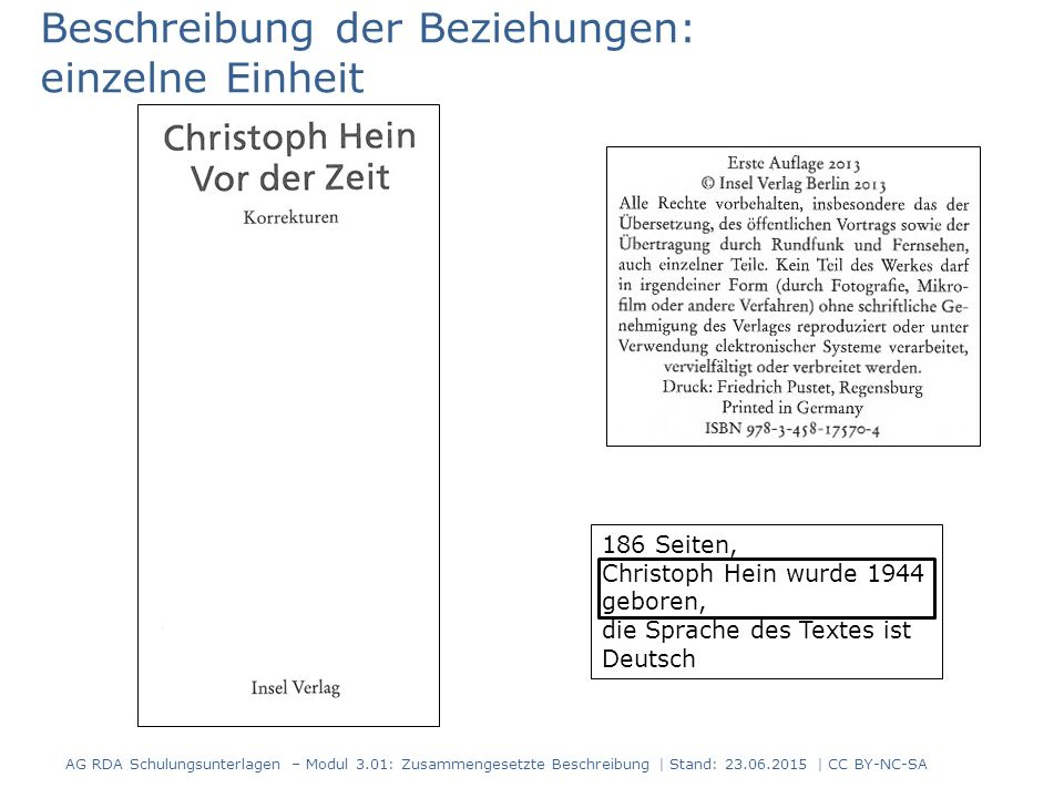 186 Seiten, Christoph Hein wurde 1944 geboren, die Sprache des Textes ist Deutsch Beschreibung der Beziehungen: einzelne Einheit AG RDA Schulungsunterlagen – Modul 3.01: Zusammengesetzte Beschreibung | Stand: 23.06.2015 | CC BY-NC-SA