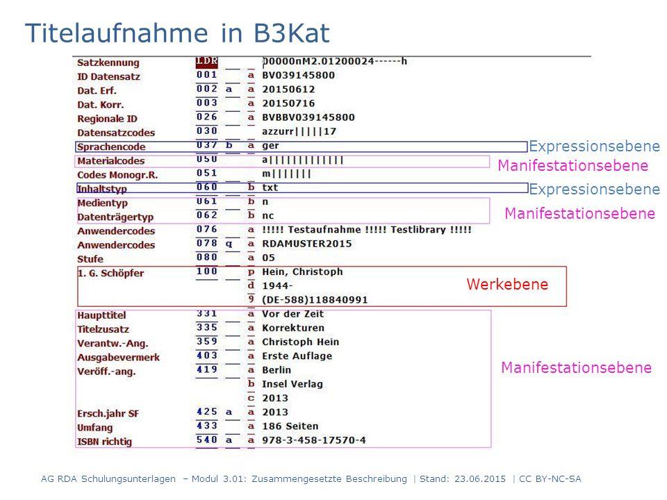 Titelaufnahme in B3Kat AG RDA Schulungsunterlagen – Modul 3.01: Zusammengesetzte Beschreibung | Stand: 23.06.2015 | CC BY-NC-SA Werkebene Expressionsebene Manifestationsebene