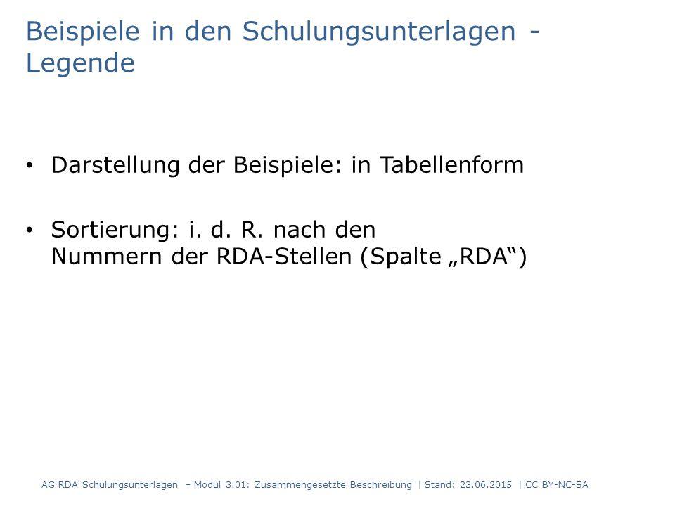 Beispiele in den Schulungsunterlagen - Legende Darstellung der Beispiele: in Tabellenform Sortierung: i.