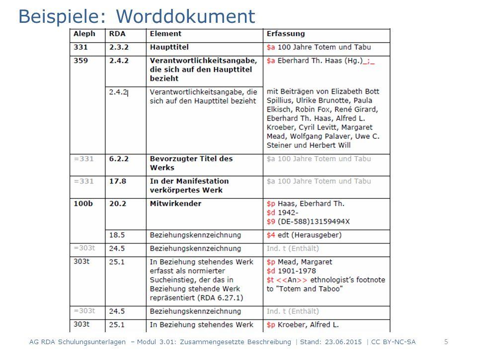 Beispiele: Worddokument AG RDA Schulungsunterlagen – Modul 3.01: Zusammengesetzte Beschreibung | Stand: 23.06.2015 | CC BY-NC-SA 5