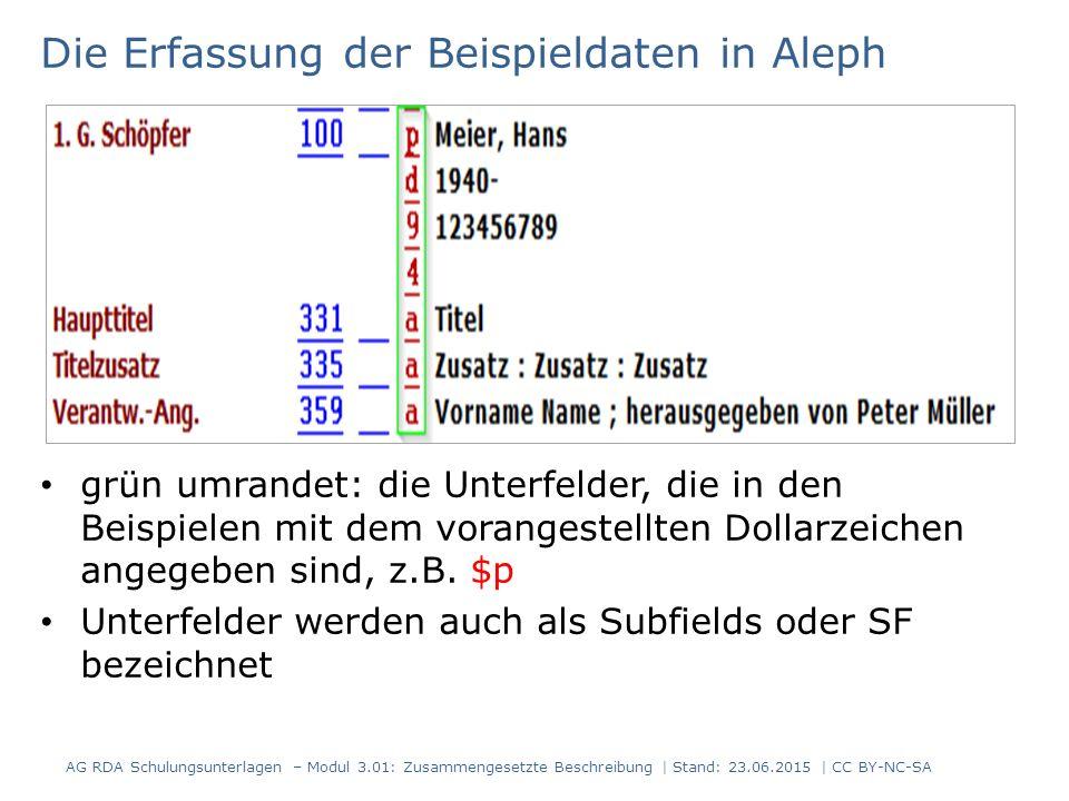Die Erfassung der Beispieldaten in Aleph grün umrandet: die Unterfelder, die in den Beispielen mit dem vorangestellten Dollarzeichen angegeben sind, z.B.