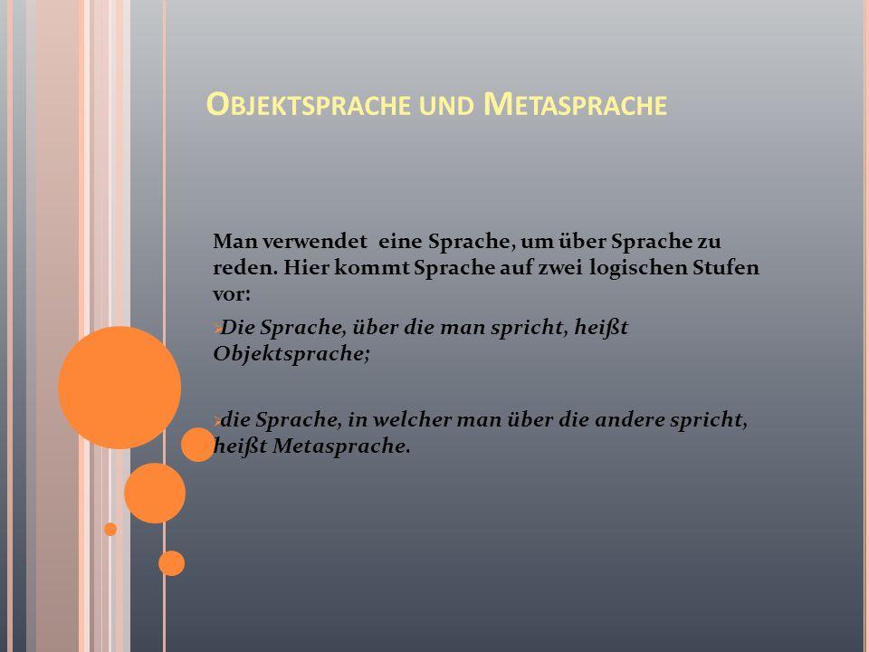 O BJEKTSPRACHE UND M ETASPRACHE Man verwendet eine Sprache, um über Sprache zu reden.