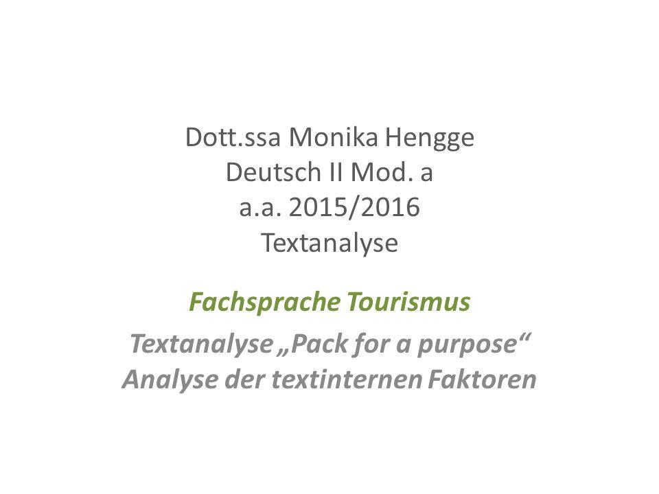 Dott.ssa Monika Hengge Deutsch II Mod. a a.a.