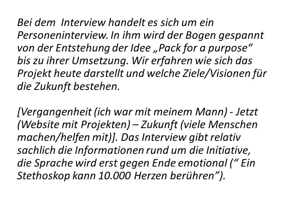 Bei dem Interview handelt es sich um ein Personeninterview.