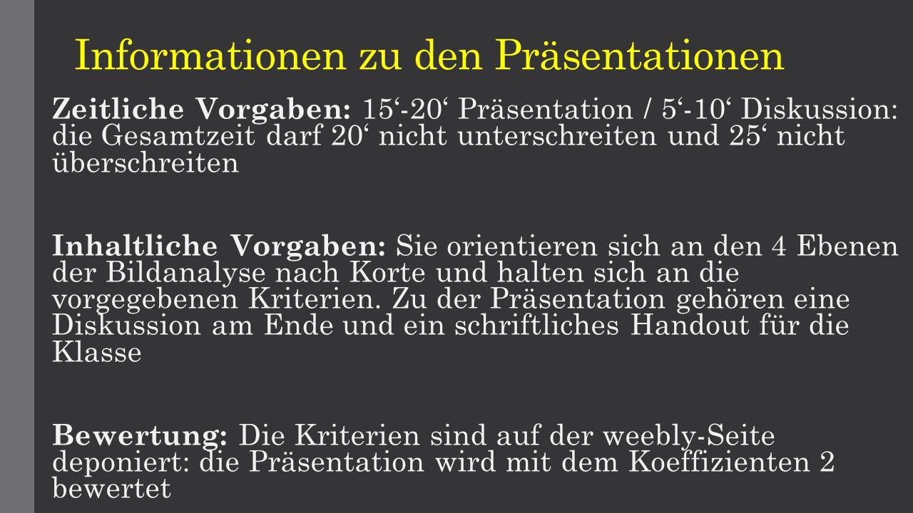 Informationen zu den Präsentationen Zeitliche Vorgaben: 15'-20' Präsentation / 5'-10' Diskussion: die Gesamtzeit darf 20' nicht unterschreiten und 25'