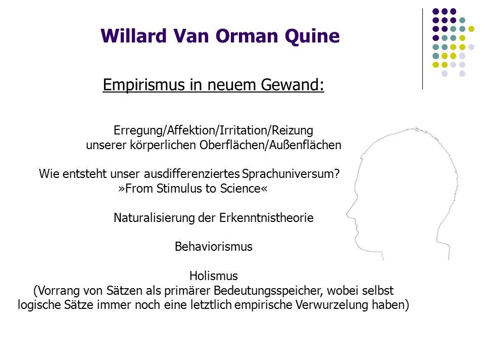 Willard Van Orman Quine Empirismus in neuem Gewand: Erregung/Affektion/Irritation/Reizung unserer körperlichen Oberflächen/Außenflächen Wie entsteht unser ausdifferenziertes Sprachuniversum.