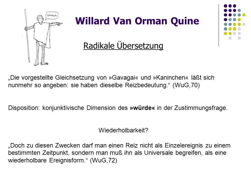 """Willard Van Orman Quine Radikale Übersetzung """"Die vorgestellte Gleichsetzung von »Gavagai« und »Kaninchen« läßt sich nunmehr so angeben: sie haben dieselbe Reizbedeutung. (WuG,70) Disposition: konjunktivische Dimension des »würde« in der Zustimmungsfrage."""