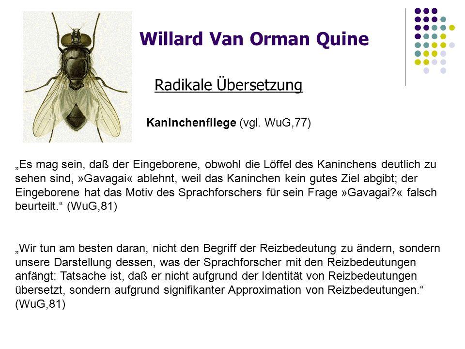 Willard Van Orman Quine Radikale Übersetzung Kaninchenfliege (vgl.