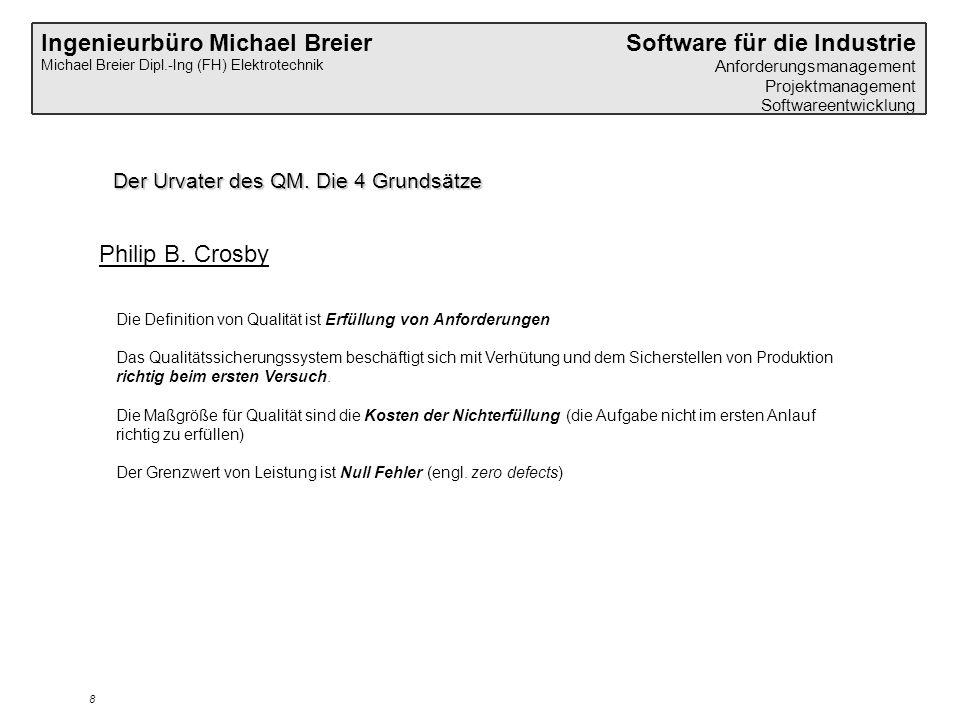Ingenieurbüro Michael Breier Michael Breier Dipl.-Ing (FH) Elektrotechnik Software für die Industrie Anforderungsmanagement Projektmanagement Softwareentwicklung 8 Der Urvater des QM.