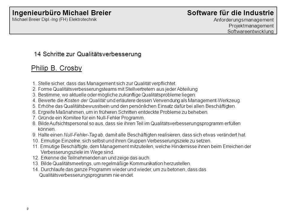 Ingenieurbüro Michael Breier Michael Breier Dipl.-Ing (FH) Elektrotechnik Software für die Industrie Anforderungsmanagement Projektmanagement Softwareentwicklung 9 14 Schritte zur Qualitätsverbesserung 1.