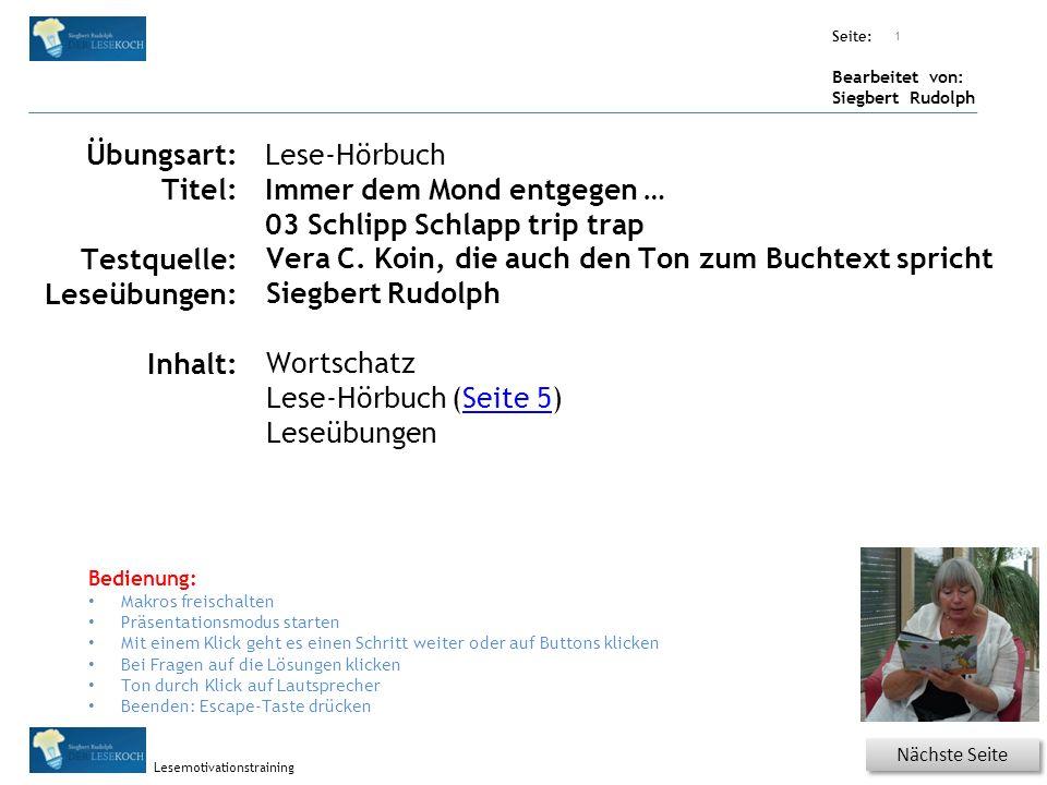 Übungsart: Seite: Bearbeitet von: Siegbert Rudolph Lesemotivationstraining Lesequatsch Textanimation mit Uhr ändern.