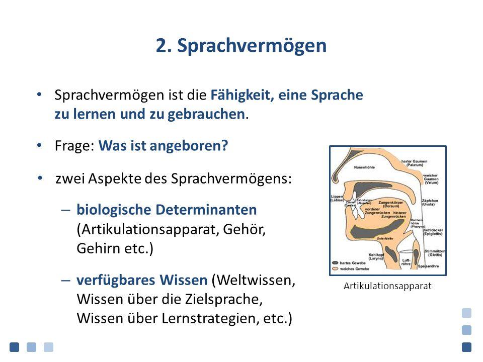 2. Sprachvermögen Sprachvermögen ist die Fähigkeit, eine Sprache zu lernen und zu gebrauchen. Frage: Was ist angeboren? zwei Aspekte des Sprachvermöge