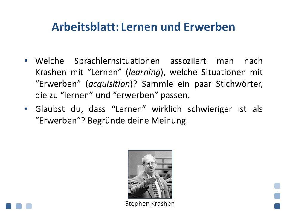 Arbeitsblatt: Lernen und Erwerben Welche Sprachlernsituationen assoziiert man nach Krashen mit Lernen (learning), welche Situationen mit Erwerben (acquisition).