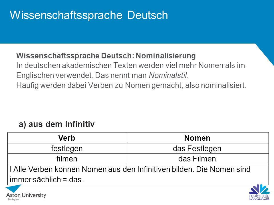 Wissenschaftssprache Deutsch Wissenschaftssprache Deutsch: Nominalisierung In deutschen akademischen Texten werden viel mehr Nomen als im Englischen v