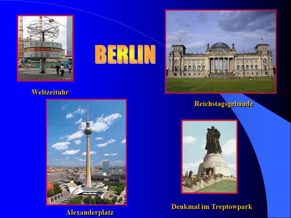 Weltzeituhr Reichstagsgebäude Alexanderplatz Denkmal im Treptowpark