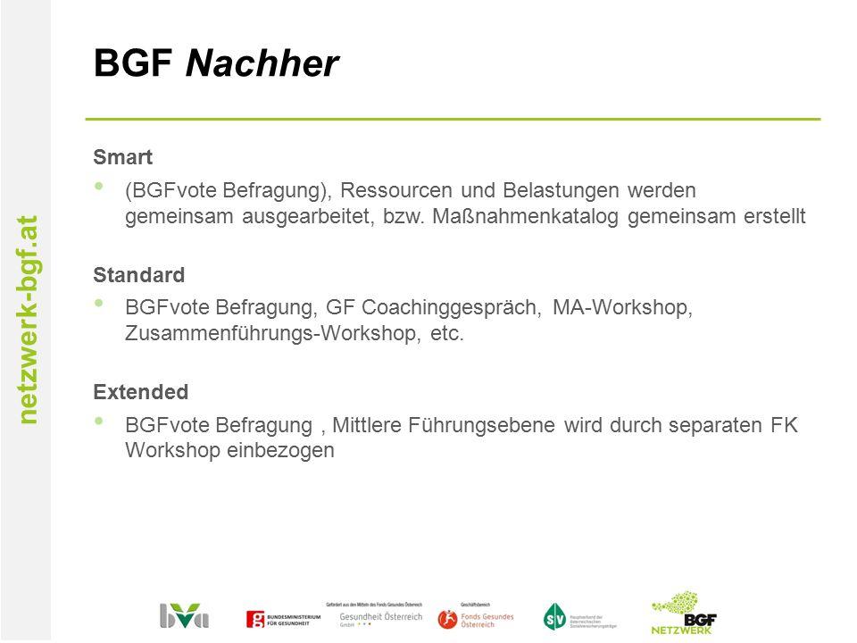 netzwerk-bgf.at BGF Nachher Smart (BGFvote Befragung), Ressourcen und Belastungen werden gemeinsam ausgearbeitet, bzw.
