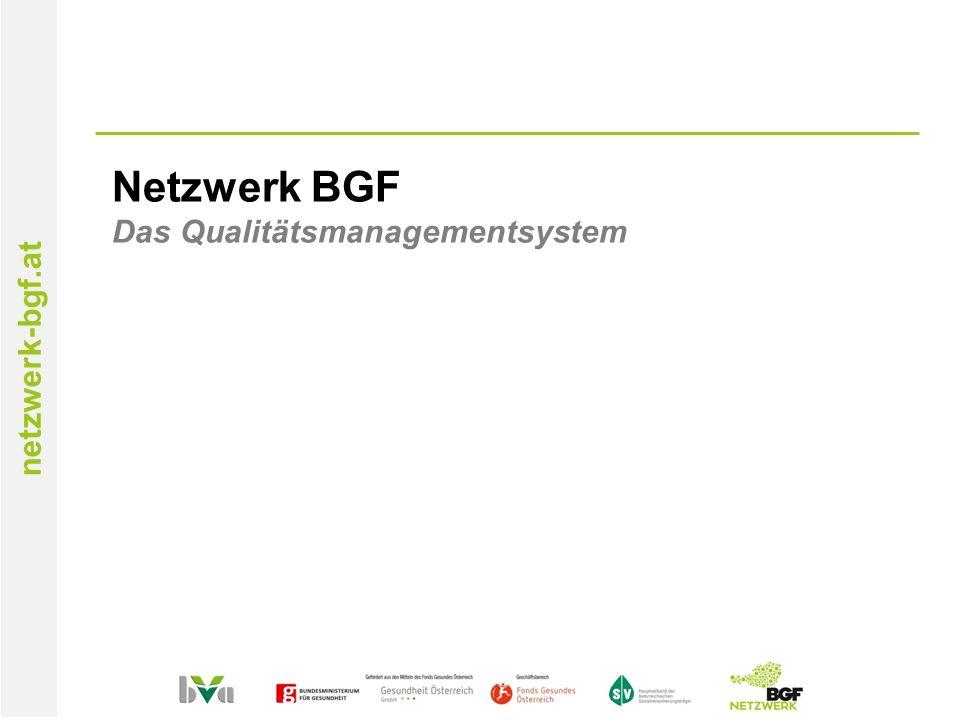 netzwerk-bgf.at Netzwerk BGF Das Qualitätsmanagementsystem