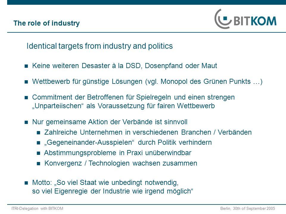ITRI-Delegation with BITKOM Berlin, 30th of September 2005 Wettbewerb für günstige Lösungen (vgl.