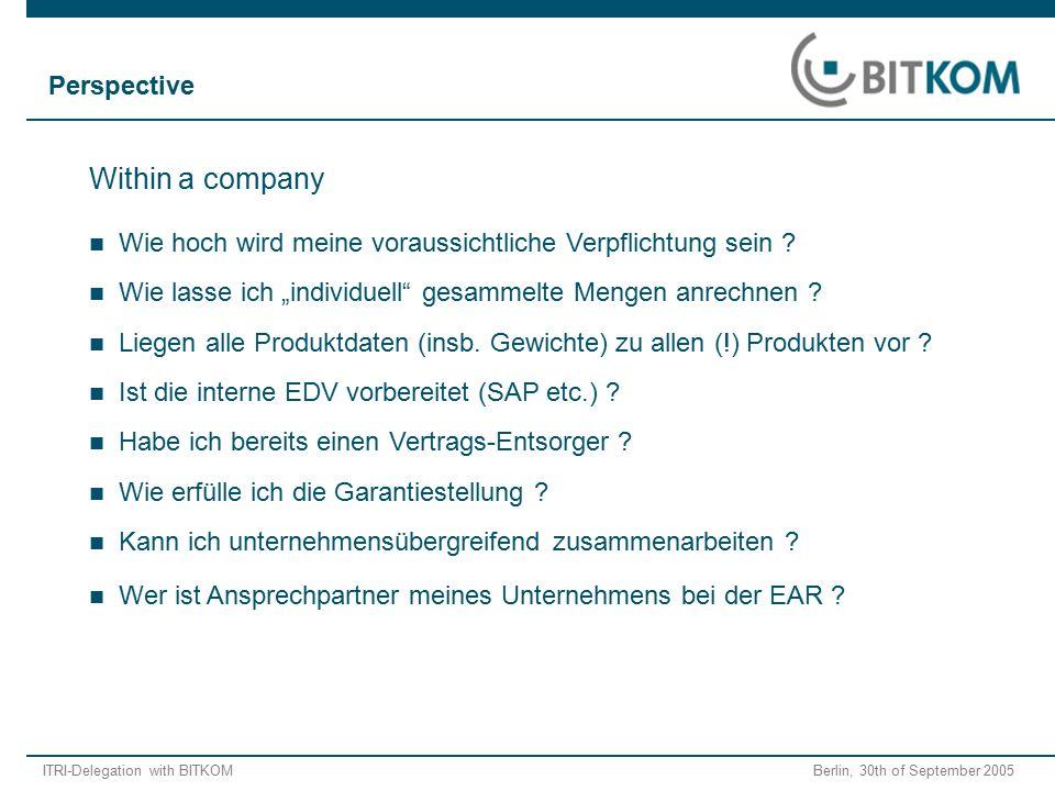 """ITRI-Delegation with BITKOM Berlin, 30th of September 2005 Wie lasse ich """"individuell"""" gesammelte Mengen anrechnen ? Within a company Wie hoch wird me"""