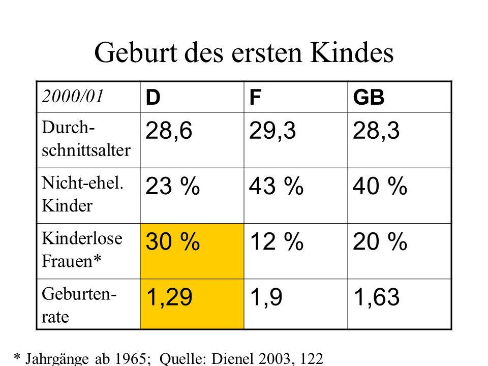 Geburt des ersten Kindes 2000/01 DFGB Durch- schnittsalter 28,629,328,3 Nicht-ehel. Kinder 23 %43 %40 % Kinderlose Frauen* 30 %12 %20 % Geburten- rate