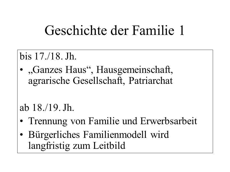 Geschichte der Familie 2 Erst in den 1950er/60er Jahren kommt es zur Realisierung des bürgerlichen Familienleitbildes für die Mehrheit Ab den 1970er Jahren: Pluralisierung der Familienformen, Individualisierung, Scheidungen, mehr Kinderlosigkeit.
