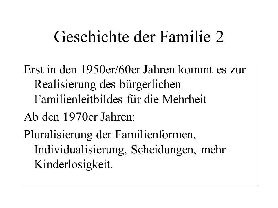 Geschichte der Familie 2 Erst in den 1950er/60er Jahren kommt es zur Realisierung des bürgerlichen Familienleitbildes für die Mehrheit Ab den 1970er J