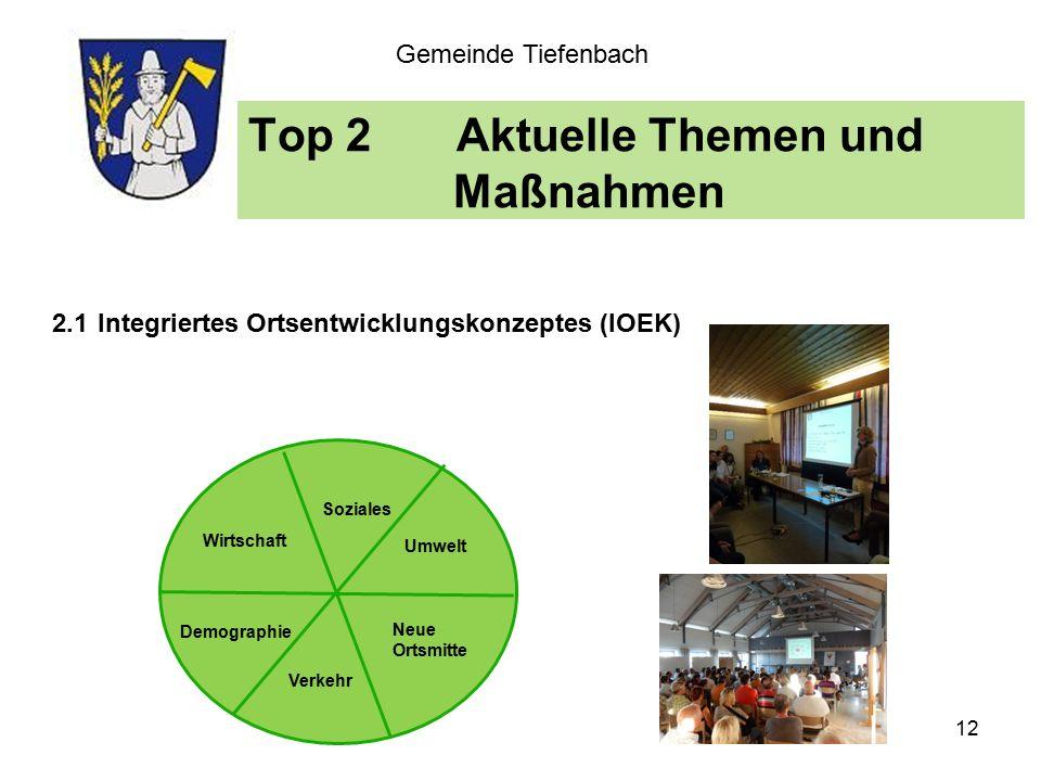 Top 2Aktuelle Themen und Maßnahmen Gemeinde Tiefenbach 2.1 Integriertes Ortsentwicklungskonzeptes (IOEK) Wirtschaft Soziales Umwelt Neue Ortsmitte Demographie Verkehr 12