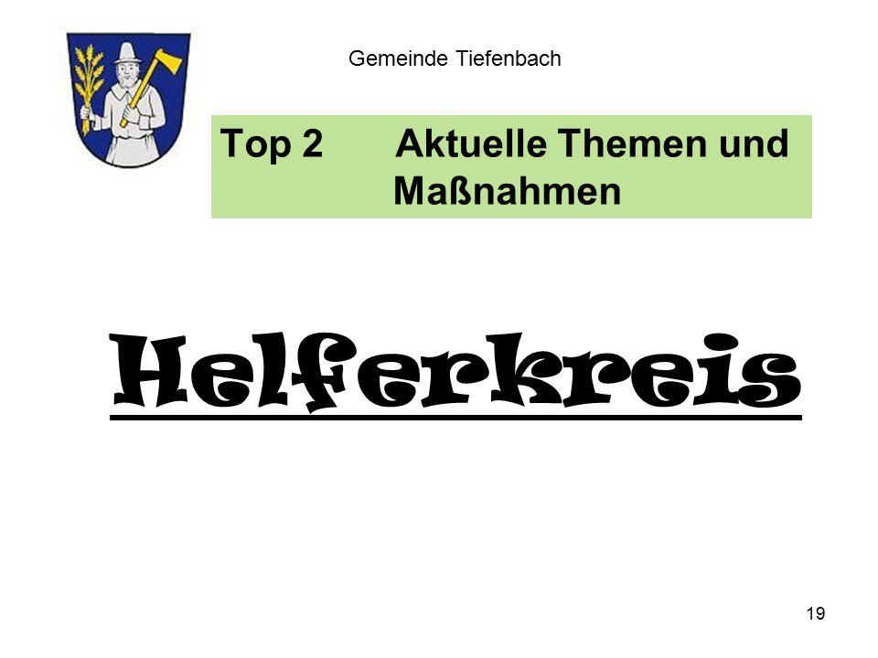 Top 2Aktuelle Themen und Maßnahmen Gemeinde Tiefenbach Helferkreis 19
