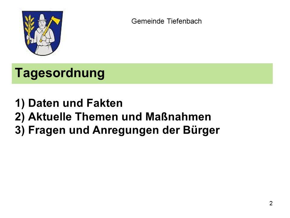 Tagesordnung 1) Daten und Fakten 2) Aktuelle Themen und Maßnahmen 3) Fragen und Anregungen der Bürger Gemeinde Tiefenbach 2