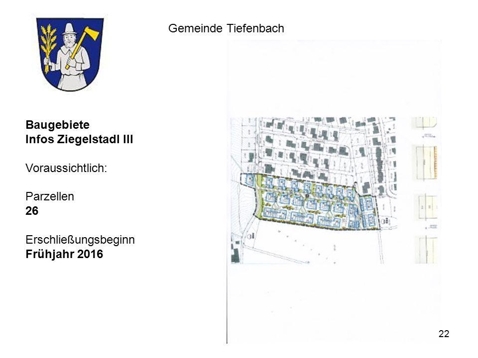 Gemeinde Tiefenbach Baugebiete Infos Ziegelstadl III Voraussichtlich: Parzellen 26 Erschließungsbeginn Frühjahr 2016 22