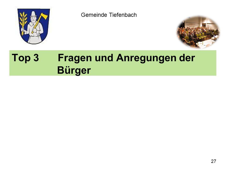 Top 3Fragen und Anregungen der Bürger Gemeinde Tiefenbach 27