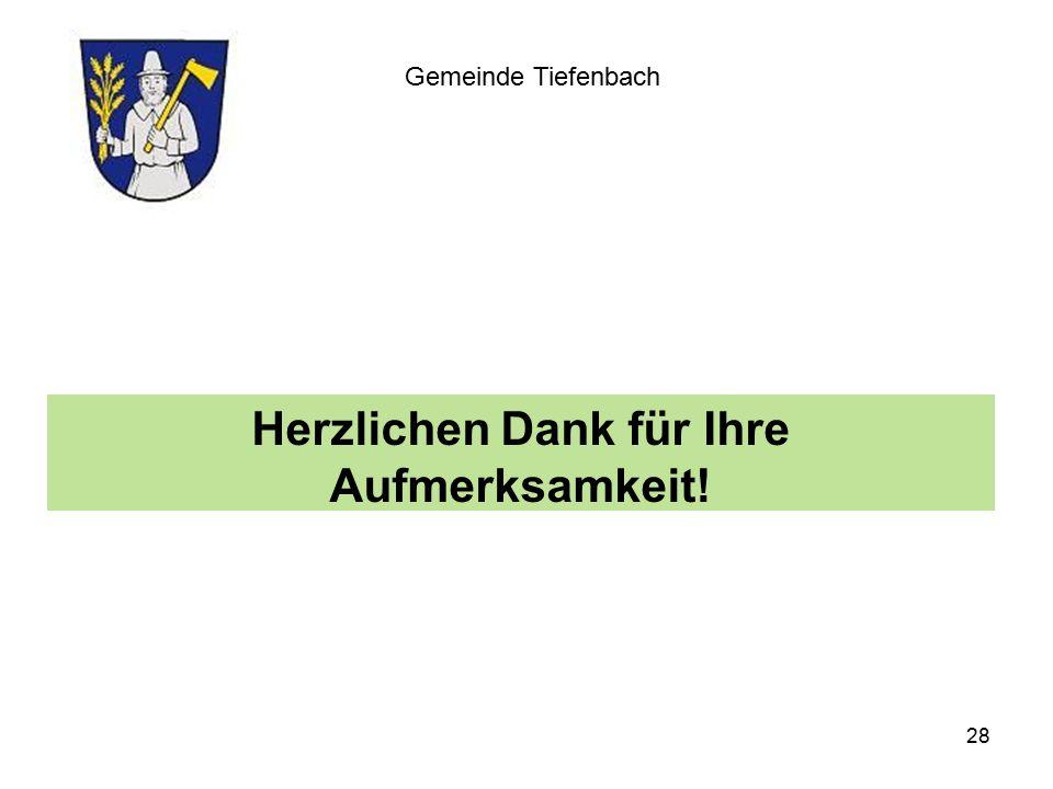 Herzlichen Dank für Ihre Aufmerksamkeit! Gemeinde Tiefenbach 28