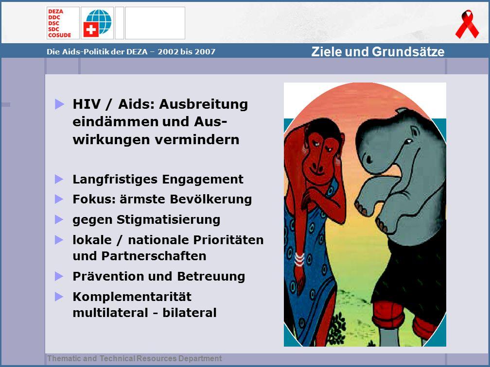 Thematic and Technical Resources Department Ziele und Grundsätze Die Aids-Politik der DEZA – 2002 bis 2007  HIV / Aids: Ausbreitung eindämmen und Aus- wirkungen vermindern  Langfristiges Engagement  Fokus: ärmste Bevölkerung  gegen Stigmatisierung  lokale / nationale Prioritäten und Partnerschaften  Prävention und Betreuung  Komplementarität multilateral - bilateral