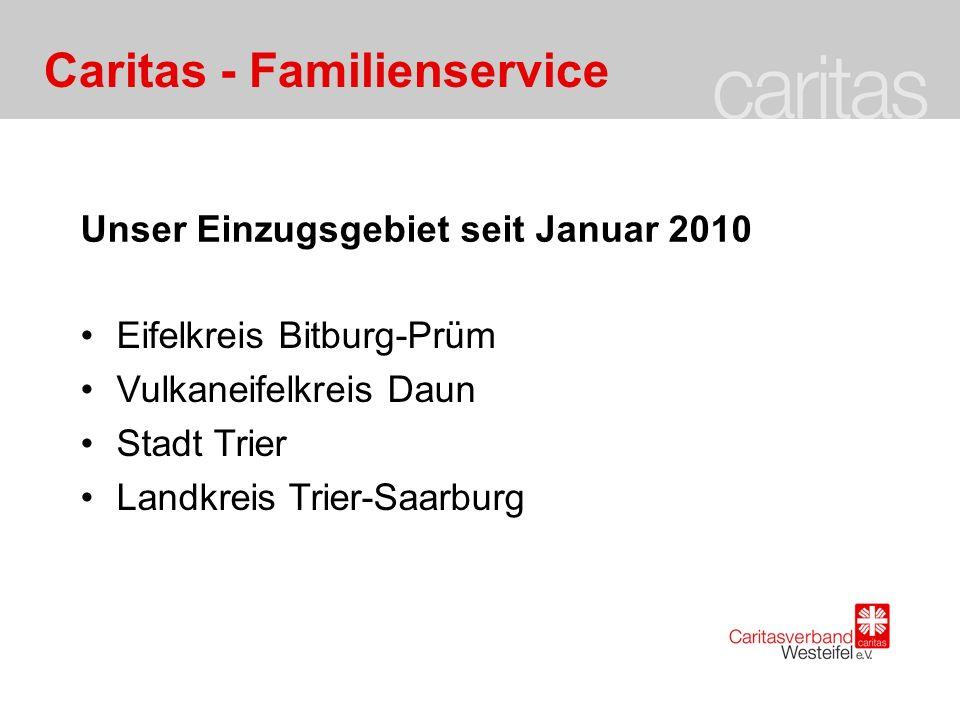 Caritas - Familienservice Unser Einzugsgebiet seit Januar 2010 Eifelkreis Bitburg-Prüm Vulkaneifelkreis Daun Stadt Trier Landkreis Trier-Saarburg