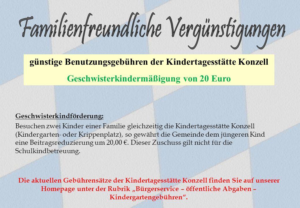 Geschwisterkindförderung: Besuchen zwei Kinder einer Familie gleichzeitig die Kindertagesstätte Konzell (Kindergarten- oder Krippenplatz), so gewährt