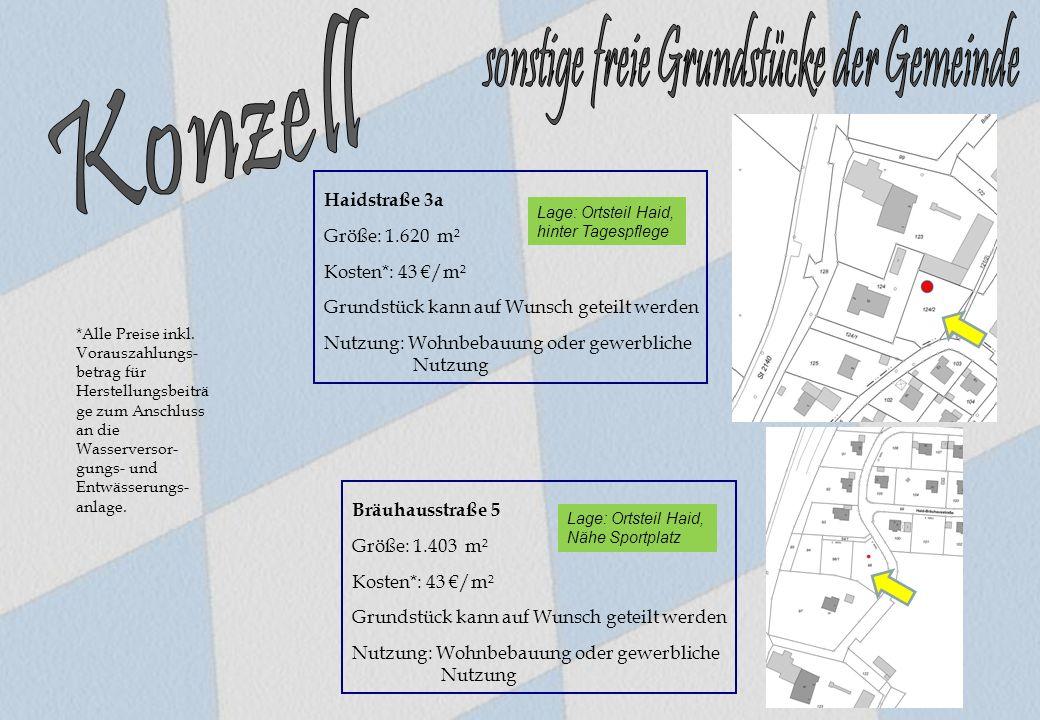 Bräuhausstraße 5 Größe: 1.403 m² Kosten*: 43 €/m² Grundstück kann auf Wunsch geteilt werden Nutzung: Wohnbebauung oder gewerbliche Nutzung Haidstraße