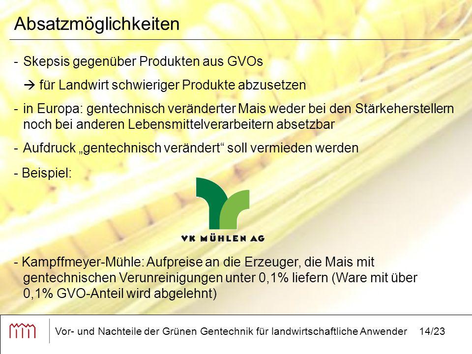 """Vor- und Nachteile der Grünen Gentechnik für landwirtschaftliche Anwender14/23 Absatzmöglichkeiten -Skepsis gegenüber Produkten aus GVOs  für Landwirt schwieriger Produkte abzusetzen -in Europa: gentechnisch veränderter Mais weder bei den Stärkeherstellern noch bei anderen Lebensmittelverarbeitern absetzbar -Aufdruck """"gentechnisch verändert soll vermieden werden - Kampffmeyer-Mühle: Aufpreise an die Erzeuger, die Mais mit gentechnischen Verunreinigungen unter 0,1% liefern (Ware mit über 0,1% GVO-Anteil wird abgelehnt) - Beispiel:"""