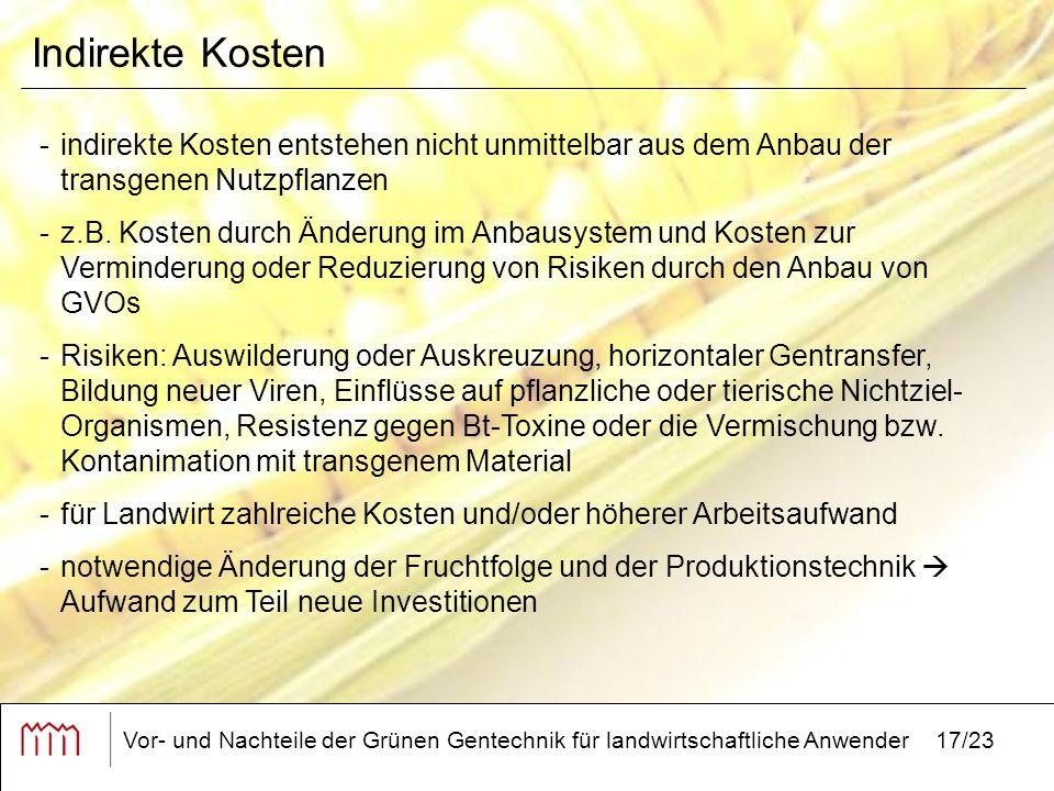 Vor- und Nachteile der Grünen Gentechnik für landwirtschaftliche Anwender17/23 Indirekte Kosten -indirekte Kosten entstehen nicht unmittelbar aus dem Anbau der transgenen Nutzpflanzen -z.B.