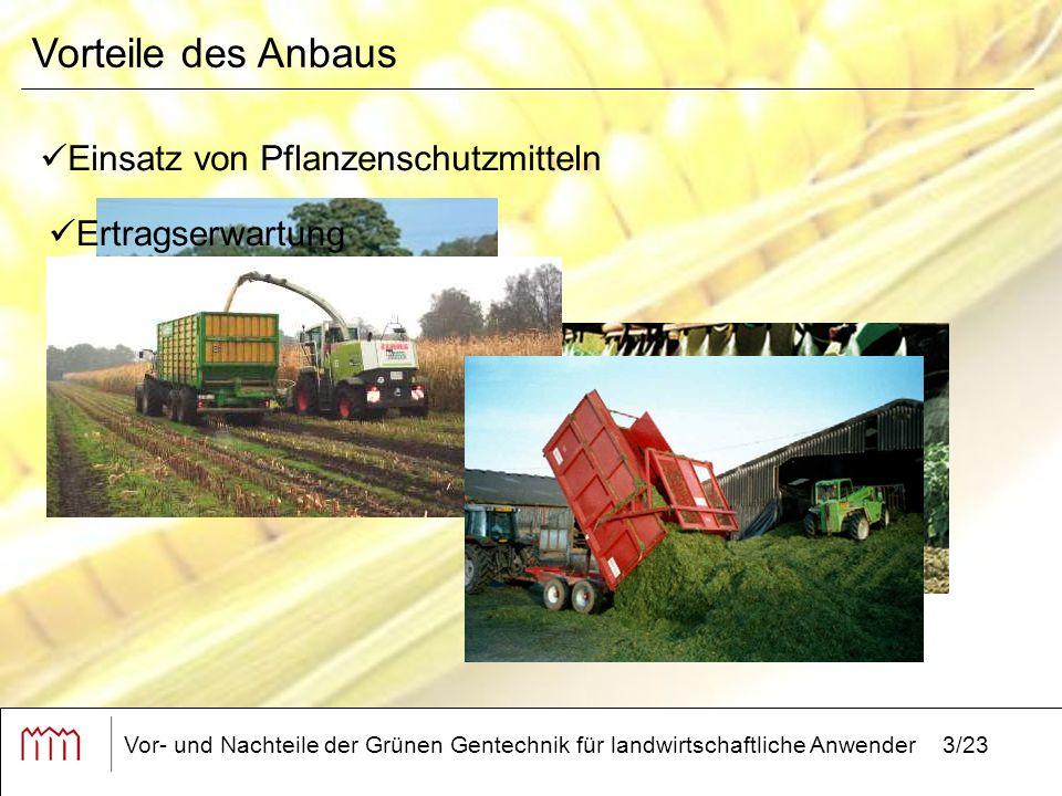 Vor- und Nachteile der Grünen Gentechnik für landwirtschaftliche Anwender3/23 Vorteile des Anbaus Einsatz von Pflanzenschutzmitteln Ertragserwartung