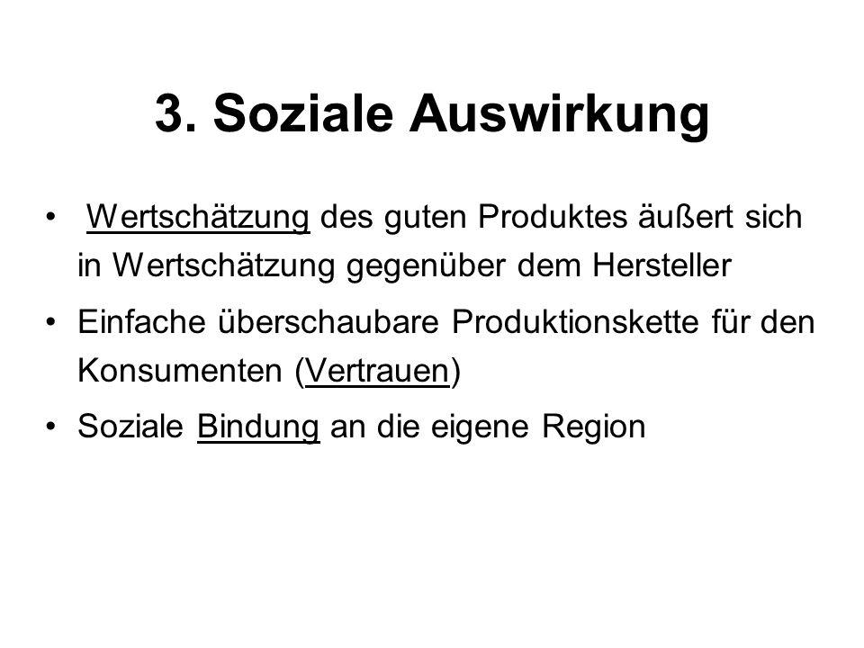 3. Soziale Auswirkung Wertschätzung des guten Produktes äußert sich in Wertschätzung gegenüber dem Hersteller Einfache überschaubare Produktionskette