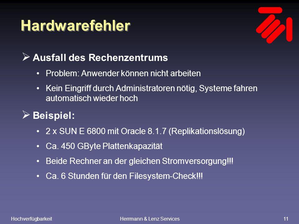 HochverfügbarkeitHerrmann & Lenz Services11 Hardwarefehler  Ausfall des Rechenzentrums Problem: Anwender können nicht arbeiten Kein Eingriff durch Administratoren nötig, Systeme fahren automatisch wieder hoch  Beispiel: 2 x SUN E 6800 mit Oracle 8.1.7 (Replikationslösung) Ca.
