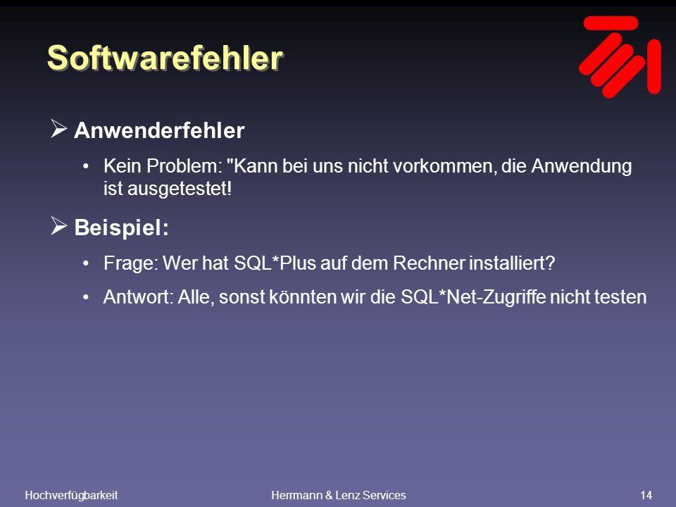HochverfügbarkeitHerrmann & Lenz Services14 Softwarefehler  Anwenderfehler Kein Problem: Kann bei uns nicht vorkommen, die Anwendung ist ausgetestet.