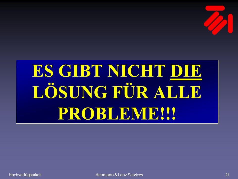 HochverfügbarkeitHerrmann & Lenz Services21 ES GIBT NICHT DIE LÖSUNG FÜR ALLE PROBLEME!!!
