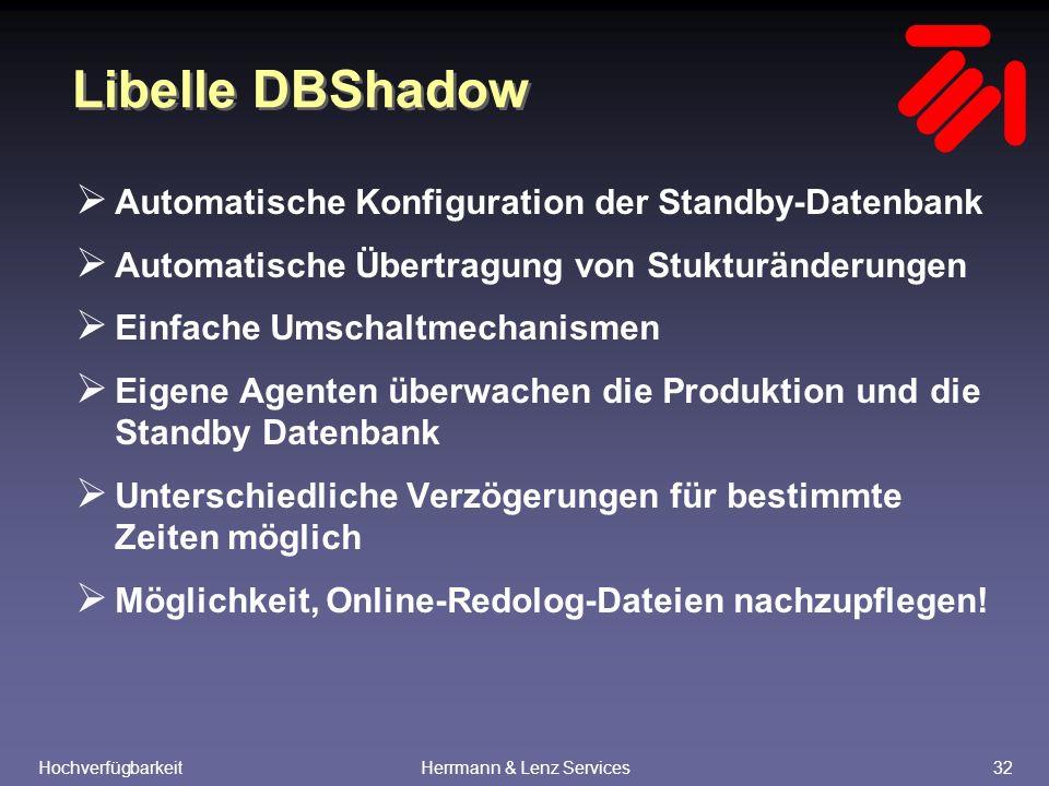 HochverfügbarkeitHerrmann & Lenz Services32 Libelle DBShadow  Automatische Konfiguration der Standby-Datenbank  Automatische Übertragung von Stukturänderungen  Einfache Umschaltmechanismen  Eigene Agenten überwachen die Produktion und die Standby Datenbank  Unterschiedliche Verzögerungen für bestimmte Zeiten möglich  Möglichkeit, Online-Redolog-Dateien nachzupflegen!