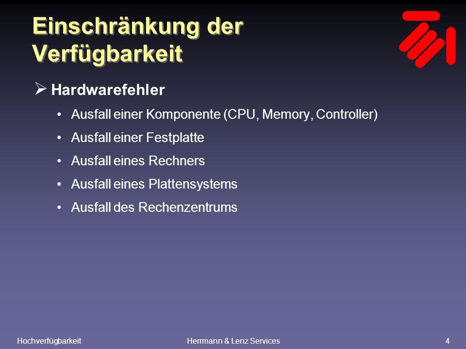 HochverfügbarkeitHerrmann & Lenz Services4 Einschränkung der Verfügbarkeit  Hardwarefehler Ausfall einer Komponente (CPU, Memory, Controller) Ausfall einer Festplatte Ausfall eines Rechners Ausfall eines Plattensystems Ausfall des Rechenzentrums