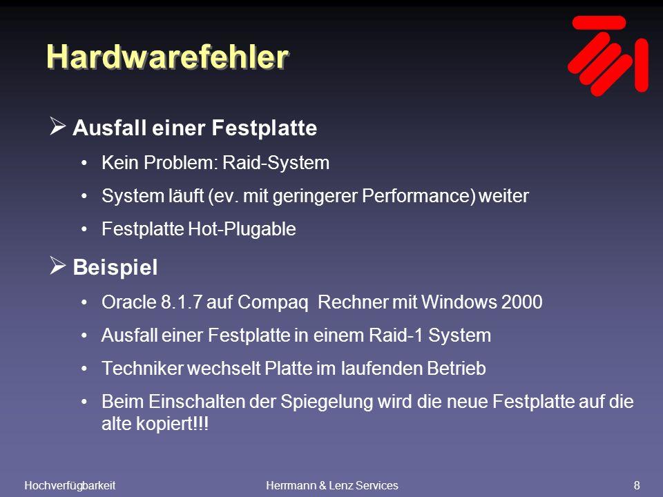 HochverfügbarkeitHerrmann & Lenz Services9 Hardwarefehler  Ausfall des Plattensystems Kein Problem: Regelmäßiges Backup Einspielen des Backups vom letzten Tag Einspielen aller verfügbaren archivierten Redolog-Dateien  Beispiel: Ausfall eines Plattensystems unter Windows 2000 mit Oracle 8.1.7 Beim Einspielen des Backups wurde festgestellt, dass ein Datafile des System-Tablespaces fehlt, weil es nicht im Standardverzeichnis lag!!.