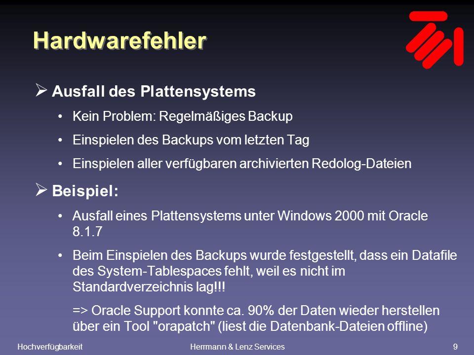HochverfügbarkeitHerrmann & Lenz Services10 Hardwarefehler  Ausfall eines Rechners Kein Problem: Oracle Parallel Server Die Benutzer melden sich wieder an und werden automatisch auf einen der verblieblenen Knoten umgeleitet  Beispiel: Oracle Parallel Server 7.3.4 auf 3 x Siemens RM-600 Ausfall eines Knotens => Benutzer werden umgeleitet auf die verbliebenen Knoten => 2.