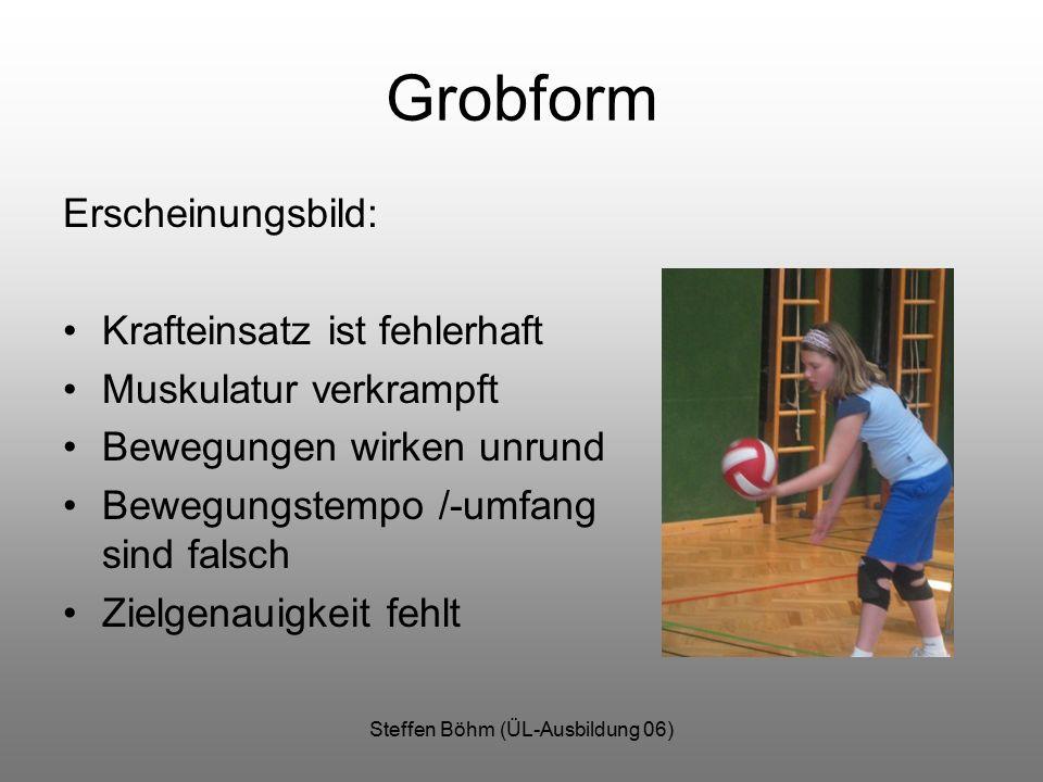 Steffen Böhm (ÜL-Ausbildung 06) Grobform Erscheinungsbild: Krafteinsatz ist fehlerhaft Muskulatur verkrampft Bewegungen wirken unrund Bewegungstempo /-umfang sind falsch Zielgenauigkeit fehlt