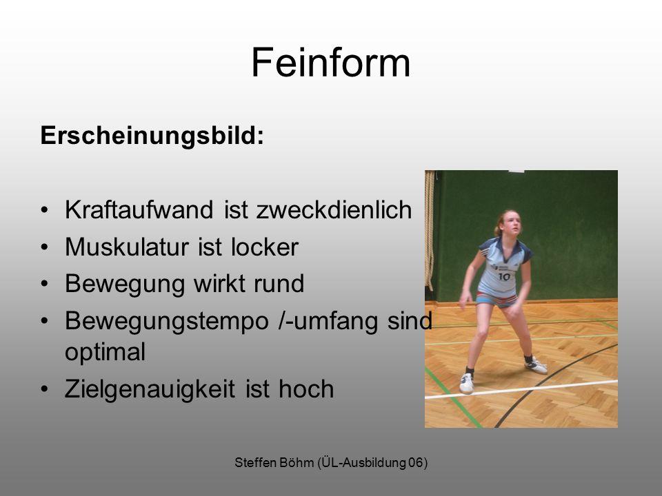 Steffen Böhm (ÜL-Ausbildung 06) Feinform Erscheinungsbild: Kraftaufwand ist zweckdienlich Muskulatur ist locker Bewegung wirkt rund Bewegungstempo /-umfang sind optimal Zielgenauigkeit ist hoch
