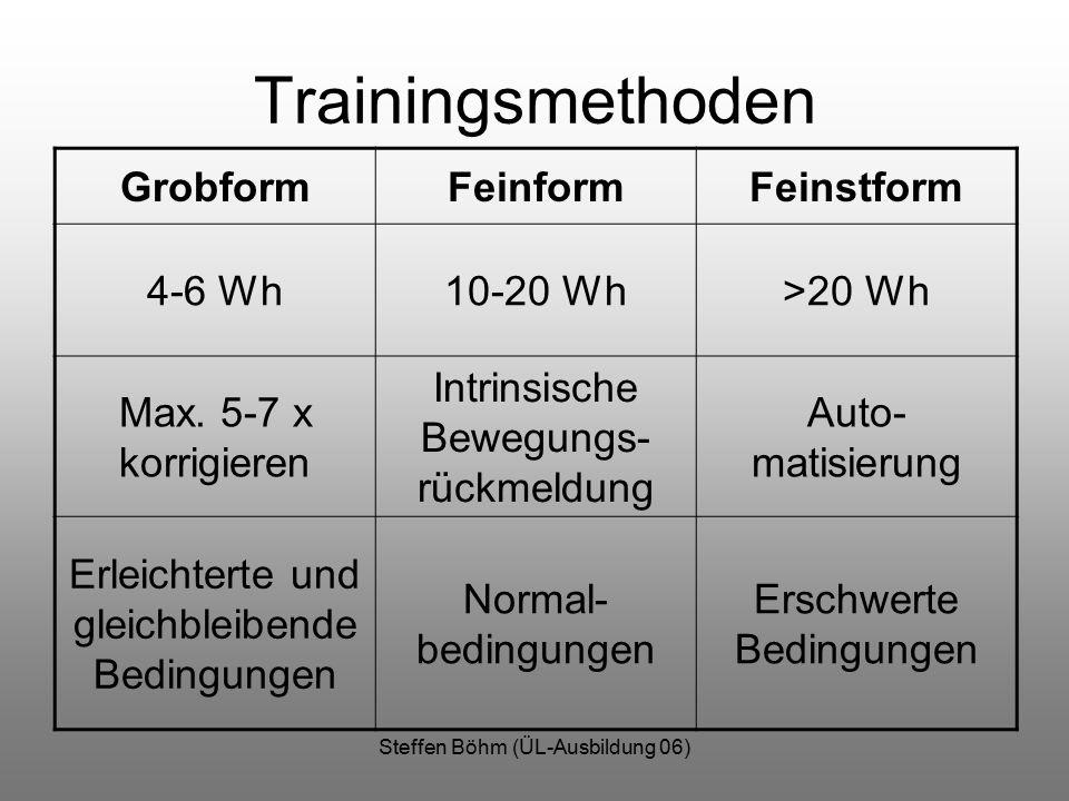 Steffen Böhm (ÜL-Ausbildung 06) Trainingsmethoden GrobformFeinformFeinstform 4-6 Wh10-20 Wh>20 Wh Max. 5-7 x korrigieren Intrinsische Bewegungs- rückm